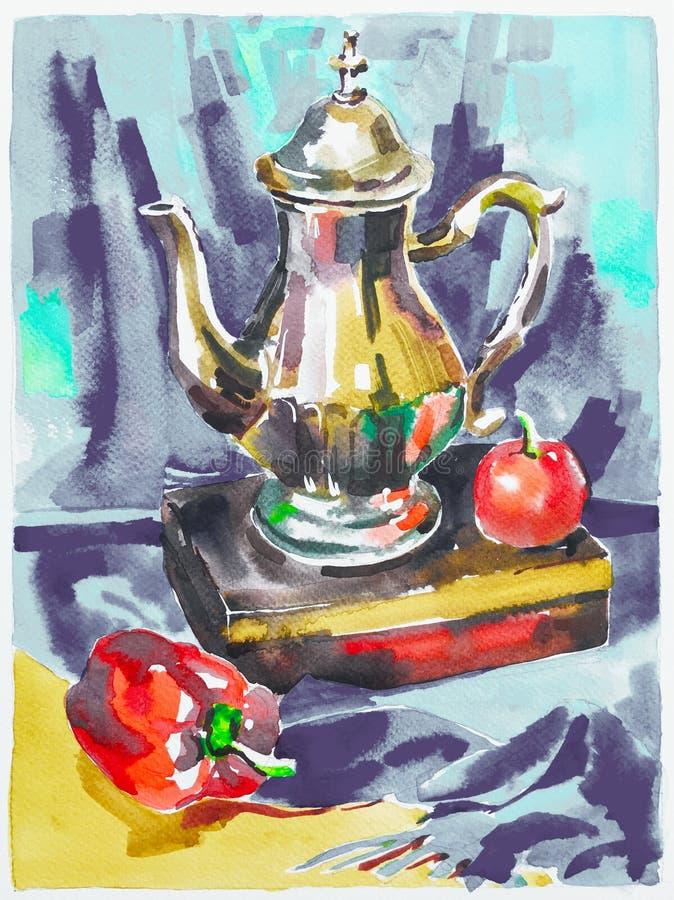 Błękitna akwarela maluje wciąż życie z dzbankiem, pieprz, jabłko i royalty ilustracja