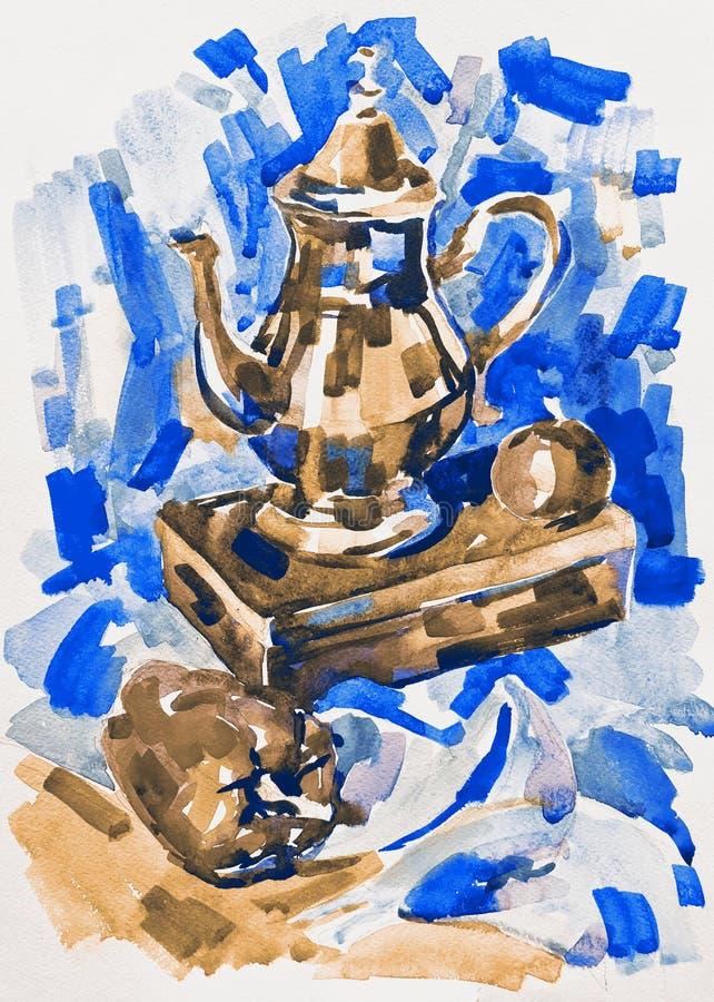 Błękitna akwarela maluje wciąż życie z dzbankiem, pieprz, jabłko i ilustracji