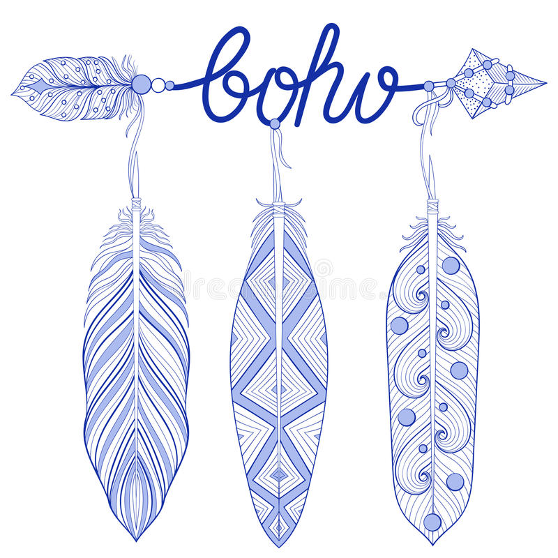 Błękitna Artystyczna strzała, amulet, listy Boho z henną upierza royalty ilustracja