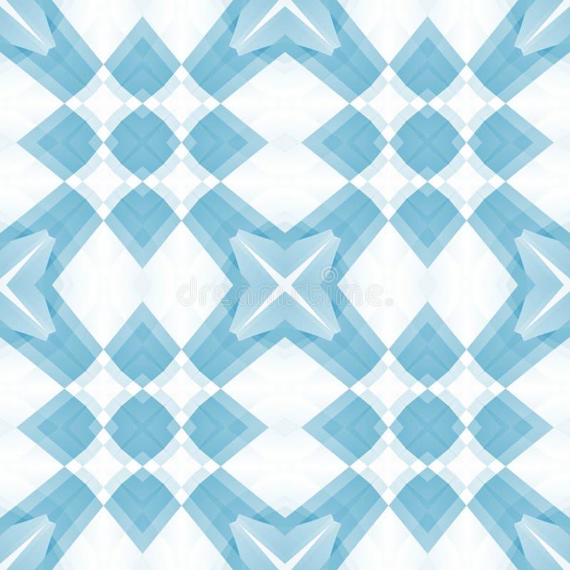 Błękitna biała delikatna abstrakcjonistyczna tekstura Elegancka tło ilustracja Kwadratowa bezszwowa płytka Tekstylny druku wzór D ilustracji