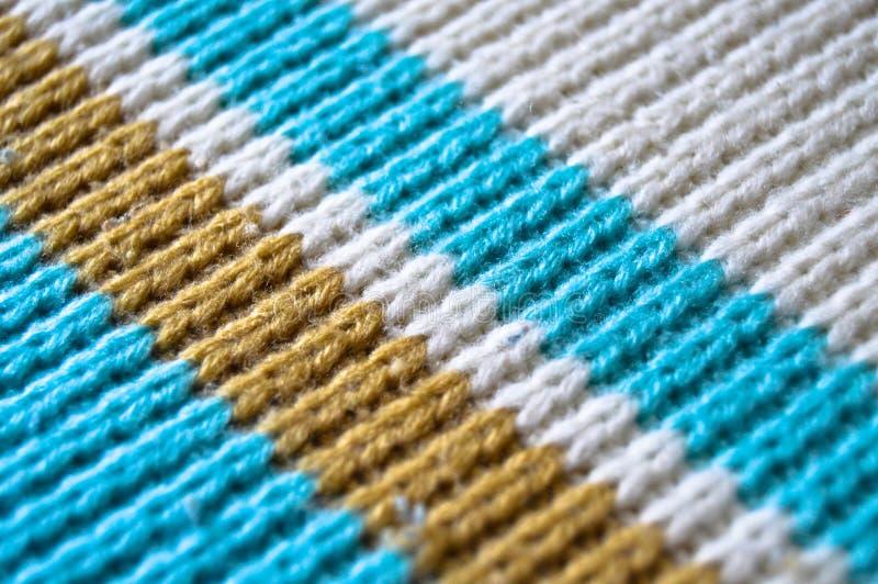 Błękitna biała i beżowa dziewiarska wełna, tekstur tła fotografia stock