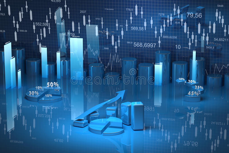 Biznesu finanse mapa, diagram, bar, grafika royalty ilustracja