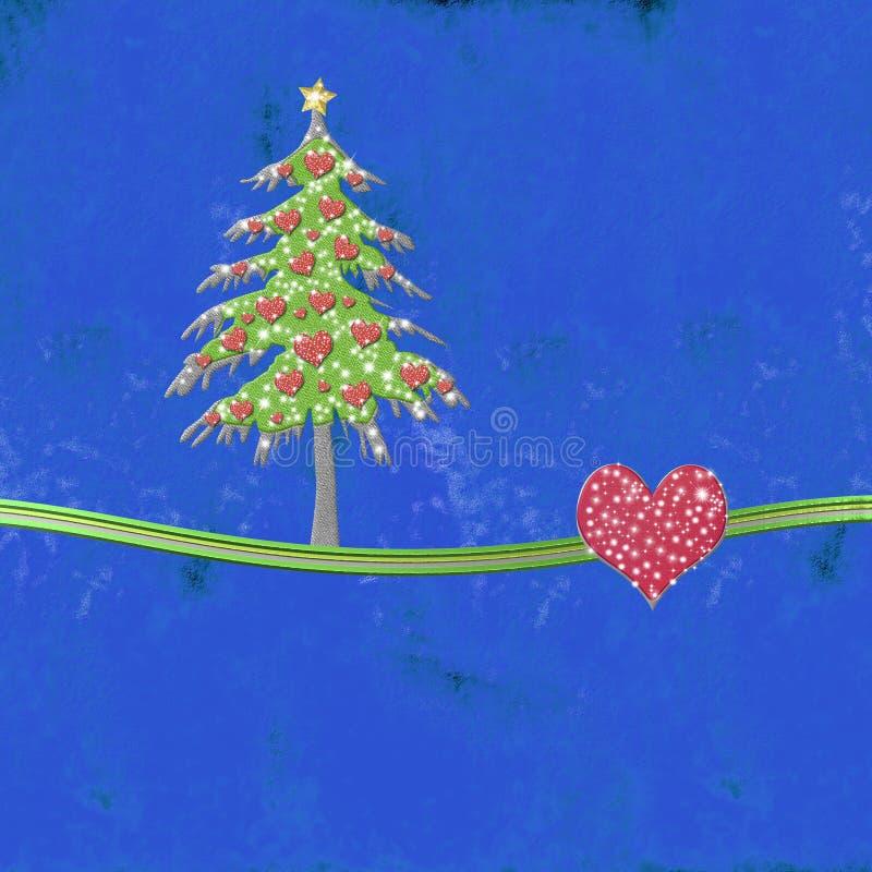 Błękitna Bożenarodzeniowa kartka z pozdrowieniami miłość, kopii przestrzeń ilustracji