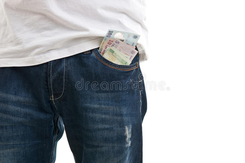 Błękitna cajg kieszeń z pieniądze fotografia stock