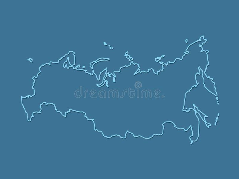 Błękitna chłodno i prosta Rosja mapa z konturami na ciemnym tle ilustracji