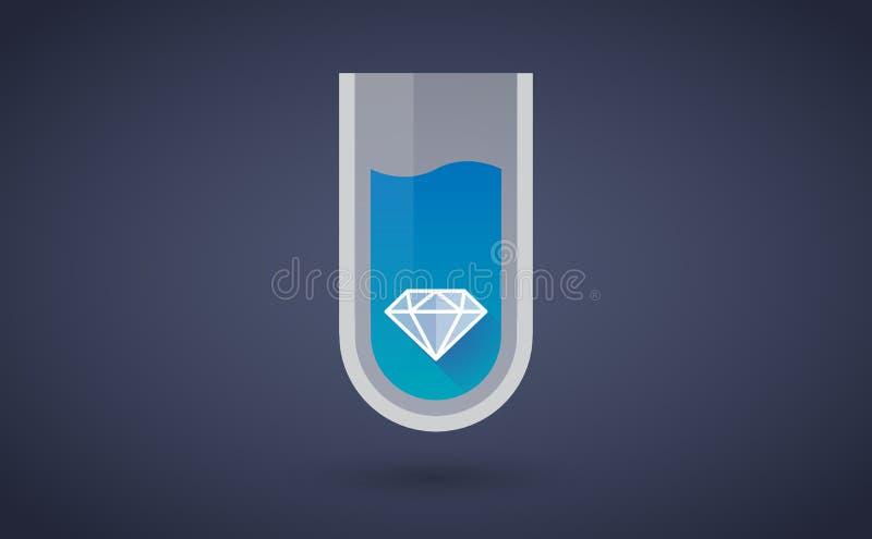 Błękitna chemiczna próbnej tubki ikona z diamentem ilustracji