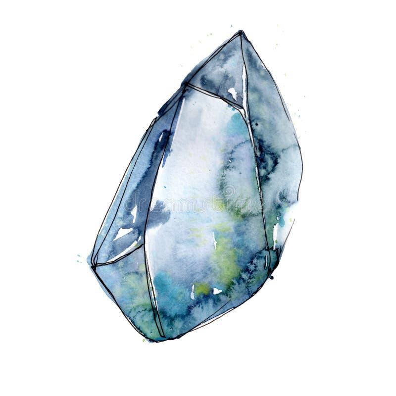 Błękitna diament skały biżuterii kopalina Odosobniony ilustracyjny element royalty ilustracja
