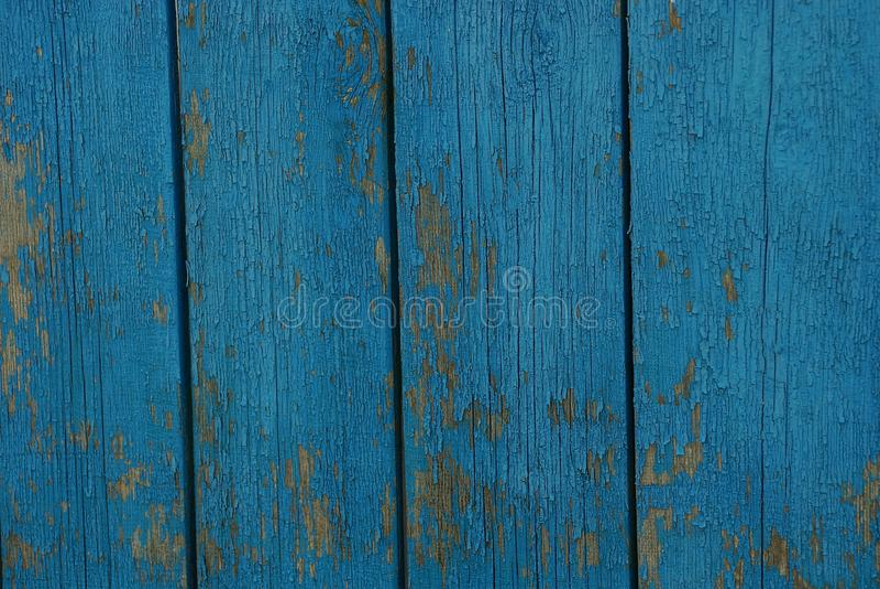 Błękitna drewniana tekstura gęsty stary ulicy ogrodzenie wsiada zdjęcie royalty free