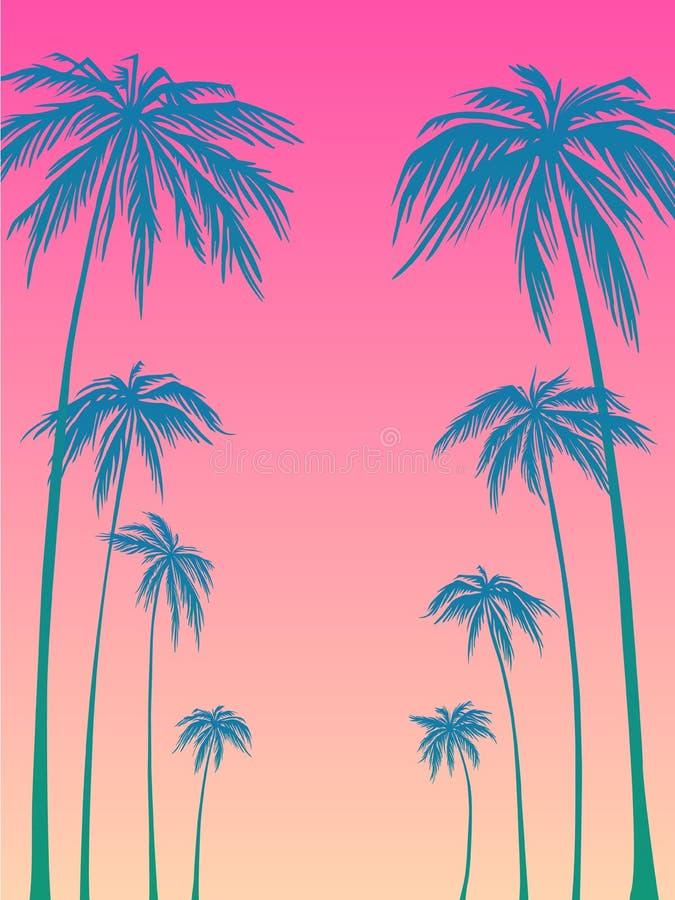 Błękitna drzewko palmowe sylwetka na różowym tle Wektorowa ilustracja, projekta element dla gratulacj kart, druk royalty ilustracja