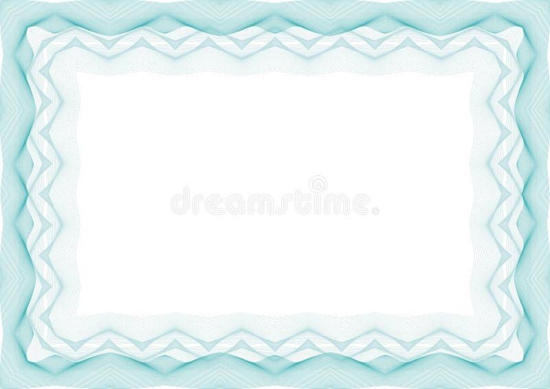 Błękitna dyplomu szablonu rama lub świadectwo - granica ilustracja wektor