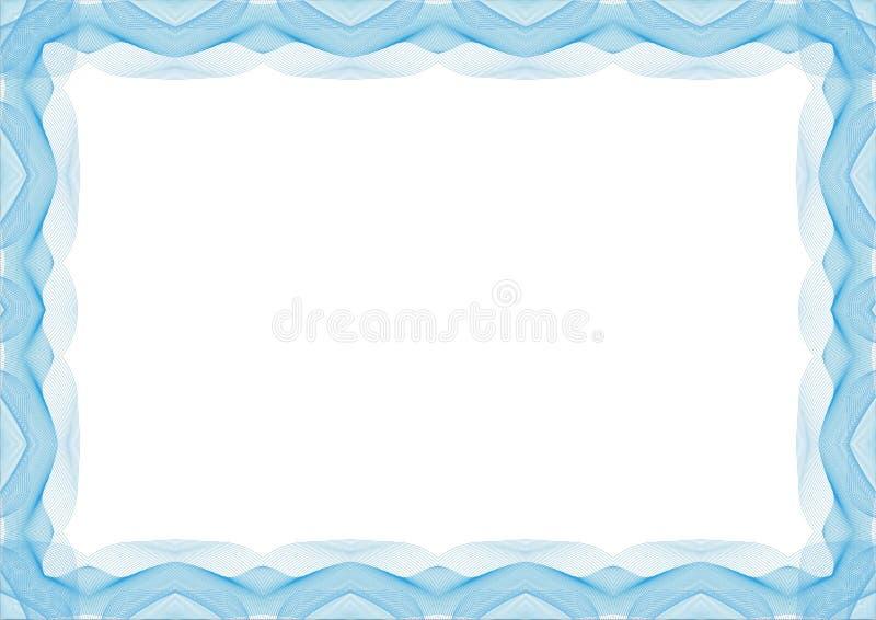 Błękitna dyplomu szablonu rama lub świadectwo - granica royalty ilustracja