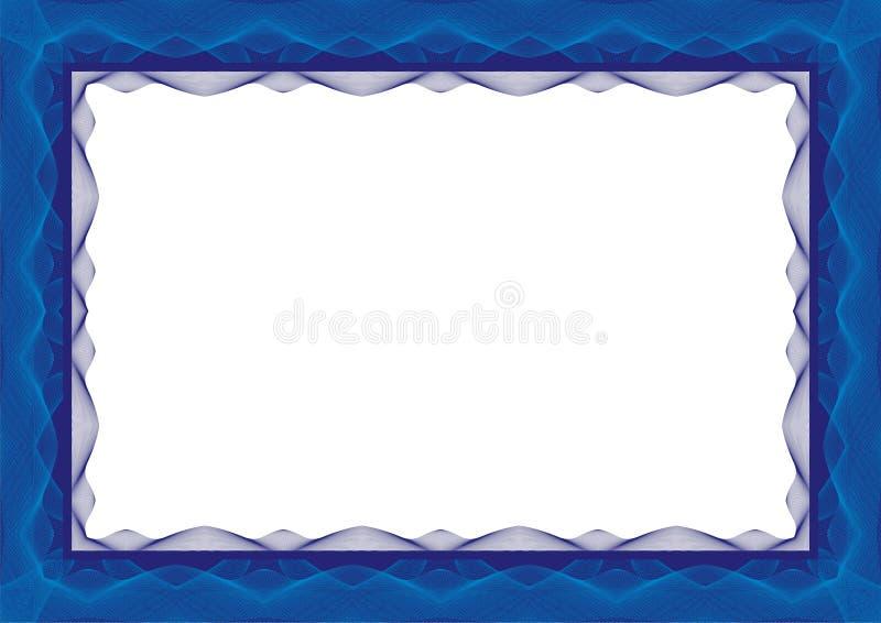 Błękitna dyplomu szablonu rama lub świadectwo - granica ilustracji