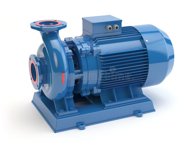 Błękitna elektryczna pompa wodna, 3D ilustracja ilustracja wektor