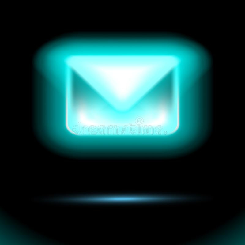 Błękitna email ikona, rozjarzona Neonowa lampa, Nowa przybywająca wiadomość, sms Koperta odizolowywający szyldowy projekt na czar royalty ilustracja