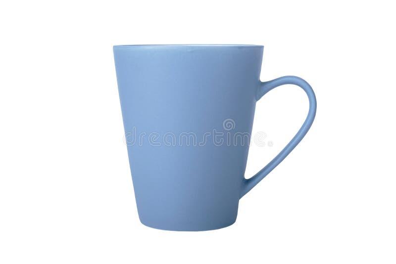 Błękitna filiżanka w bocznym widoku odizolowywającym na białym tle zdjęcia stock