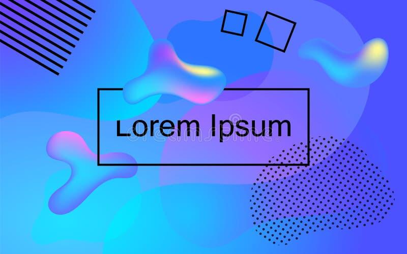 Błękitna fiołkowa abstrakcja z gradientu i fluidu kolorami Modny wibrujący wektorowy tło 3d przedmiota przepływ w przestrzeni ilustracji