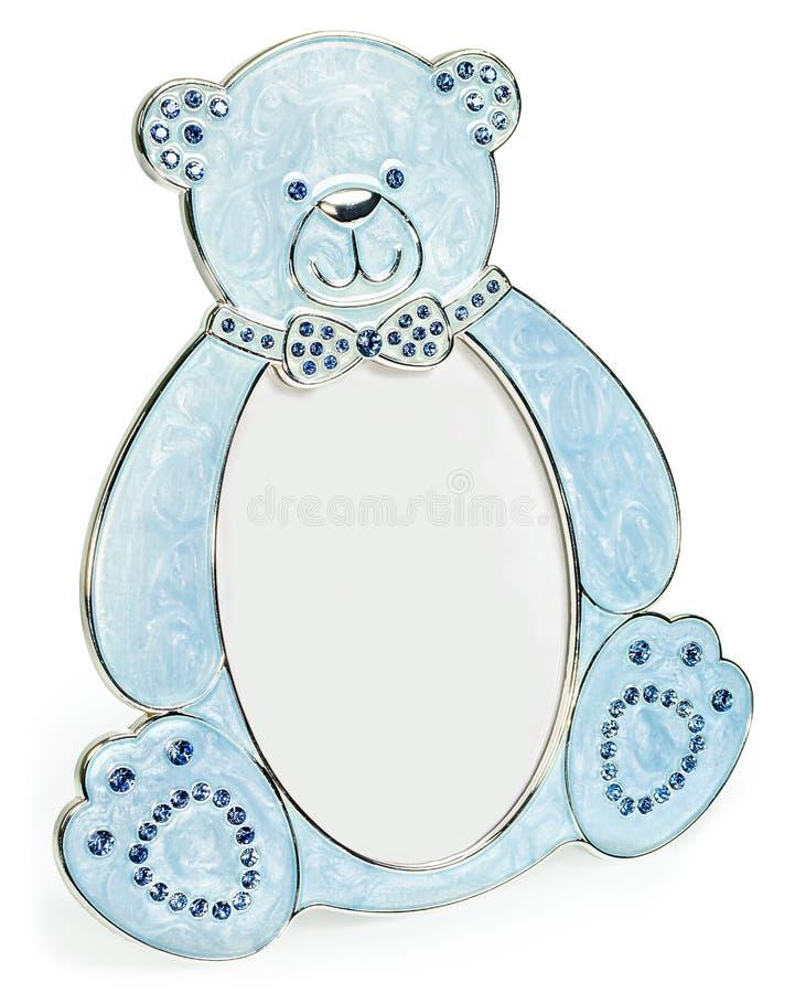 Błękitna fotografii rama wykładał diamenty w formie niedźwiedź royalty ilustracja