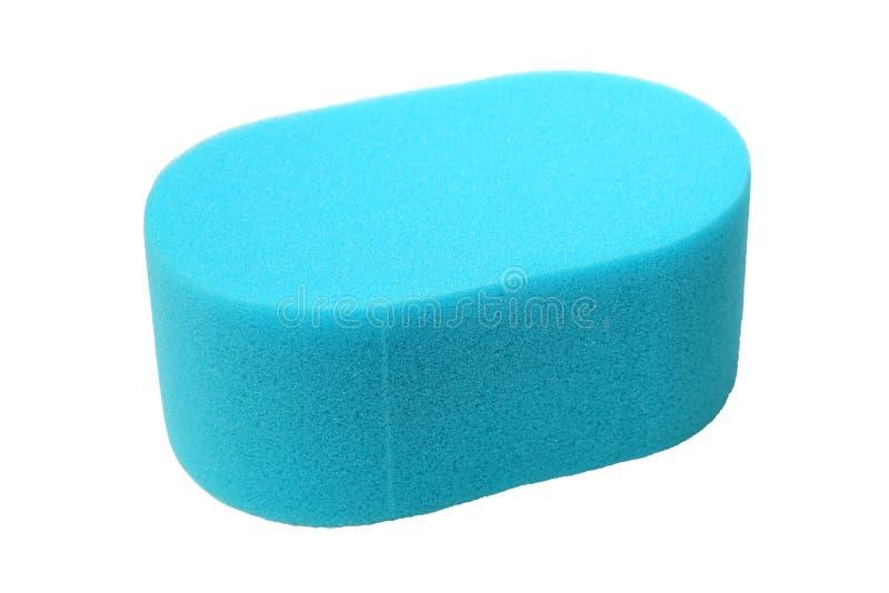 Błękitna gąbka na bielu zdjęcie stock