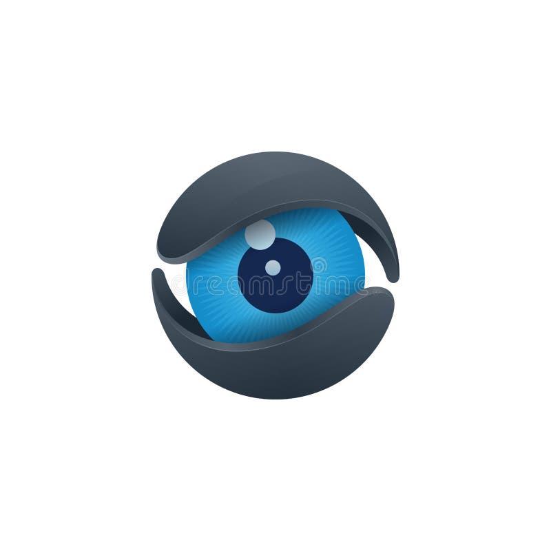 Błękitna gałka oczna w sednie, medialna ikona royalty ilustracja