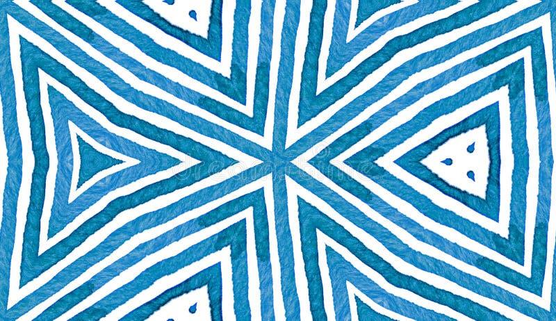 Błękitna Geometryczna akwarela bezszwowy słodkie wzoru Ręka rysujący lampasy Szczotkarska tekstura Świeży szewron O ilustracji