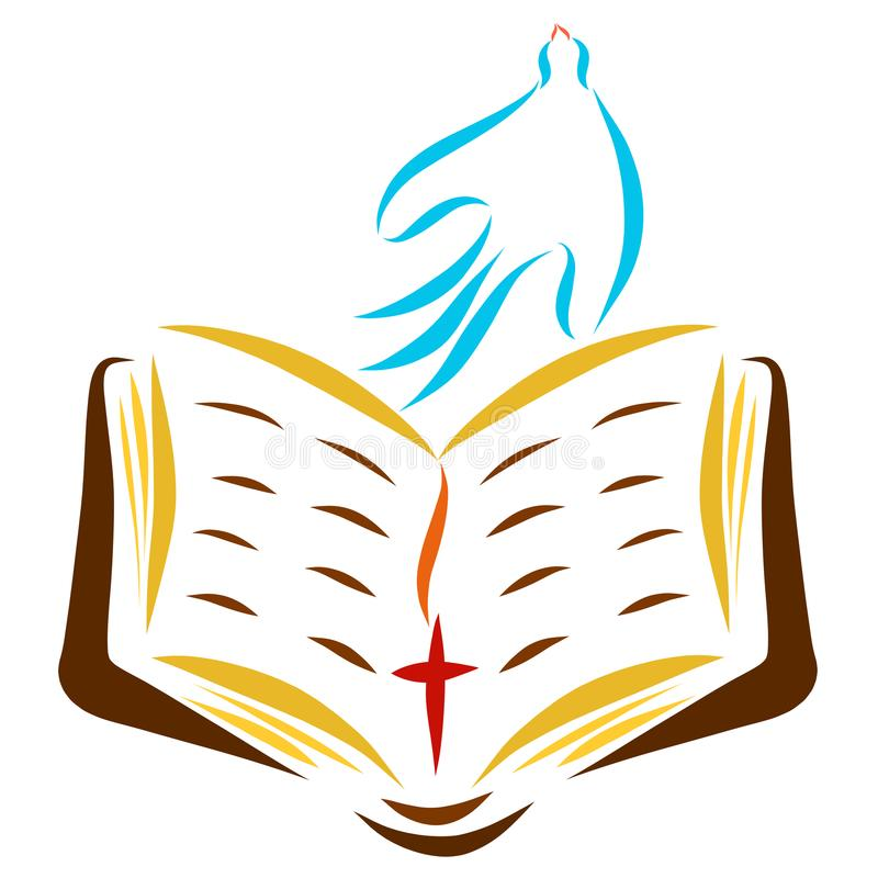 Błękitna gołąbka bierze daleko nad otwartą biblią ilustracja wektor