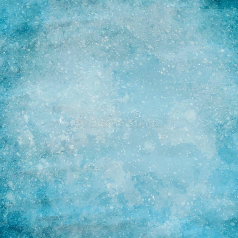 Błękitna grunge papieru tekstura z małymi kroplami biała farba Wektorowy tło ilustracji