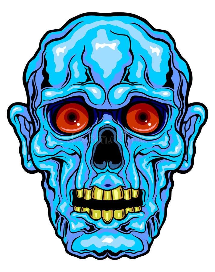 Błękitna horror twarz royalty ilustracja