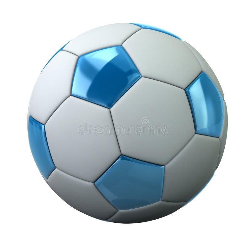 Błękitna i biała piłki nożnej piłki 3d ilustracja ilustracji