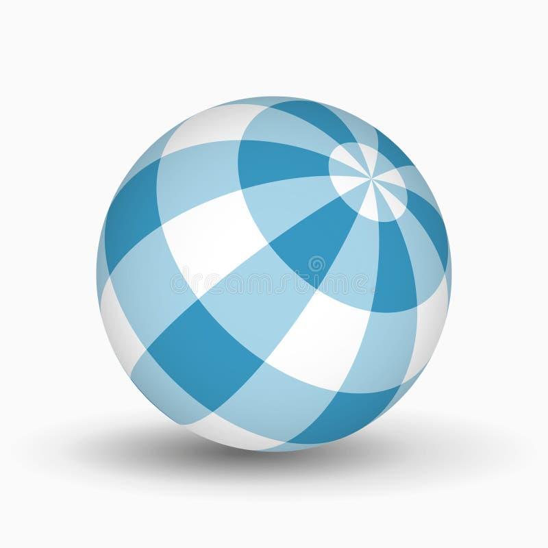 Błękitna i biała tartan piłka z cieniem ilustracja wektor