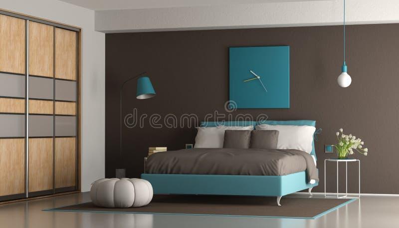 Błękitna i brown nowożytna sypialnia ilustracja wektor