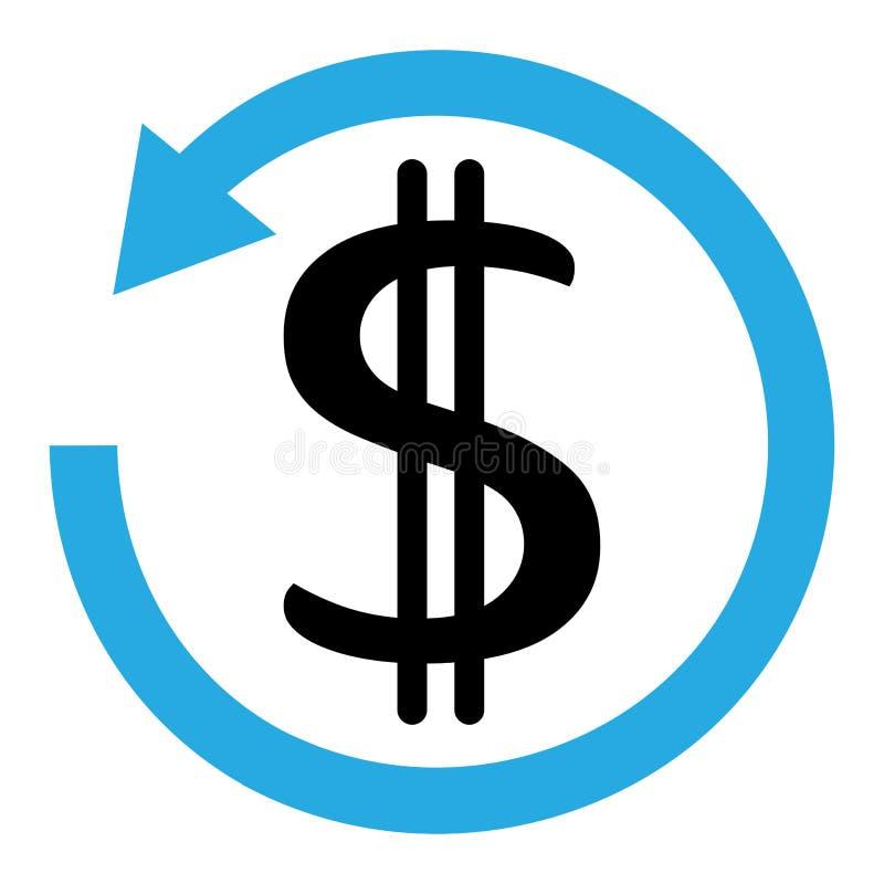 Błękitna i czarna chargeback ikona 3d odizolowywaj?ca dolarowa wysoko?? odp?aca si? postanowienia symbolu biel r?wnie? zwr?ci? co ilustracja wektor