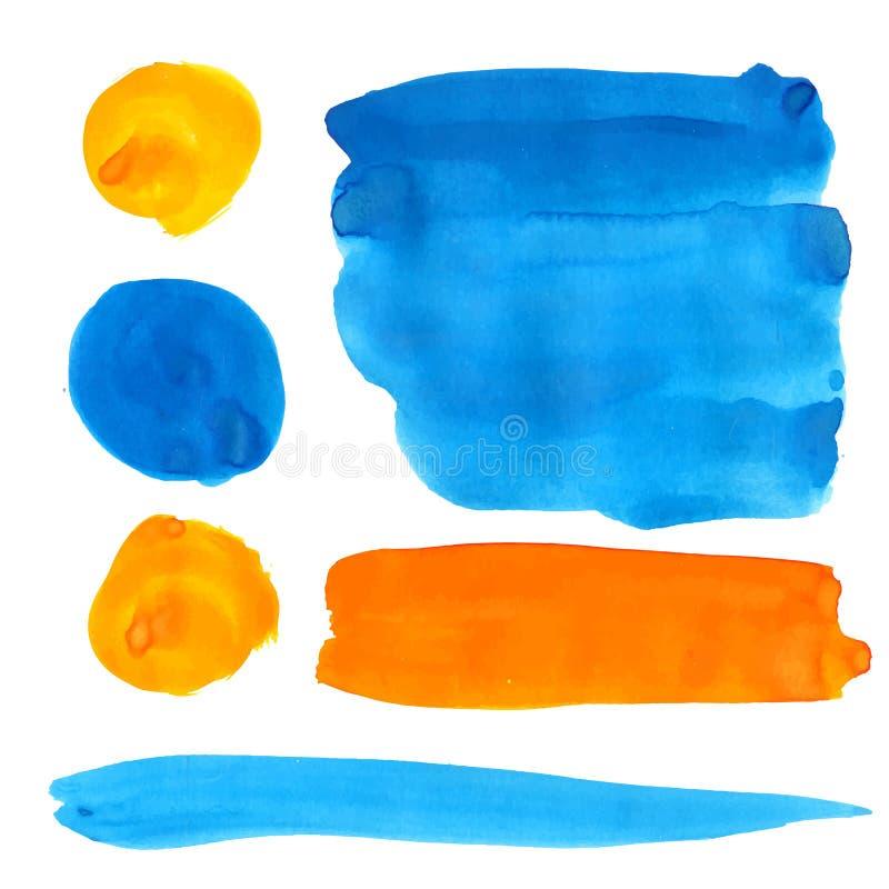Błękitna i pomarańczowa guasz farba plami i uderzenia ilustracja wektor