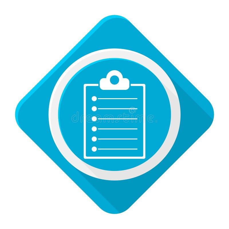 Błękitna ikona schowka lista z długim cieniem royalty ilustracja