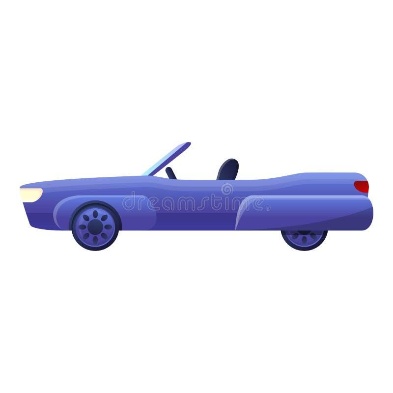 Błękitna kabriolet ikona, kreskówka styl ilustracji
