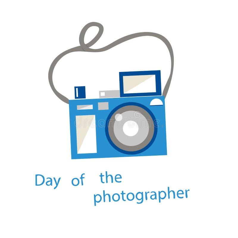 Błękitna kamera na białym tle ilustracja wektor