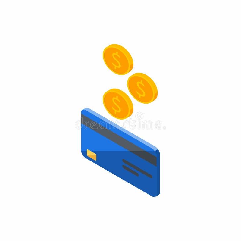 Błękitna karta kredytowa, Zarabia pieniądze, Isometric, moneta, finanse, bank karta, biznes, wektor, gotówka dostaje bank kartę ilustracji