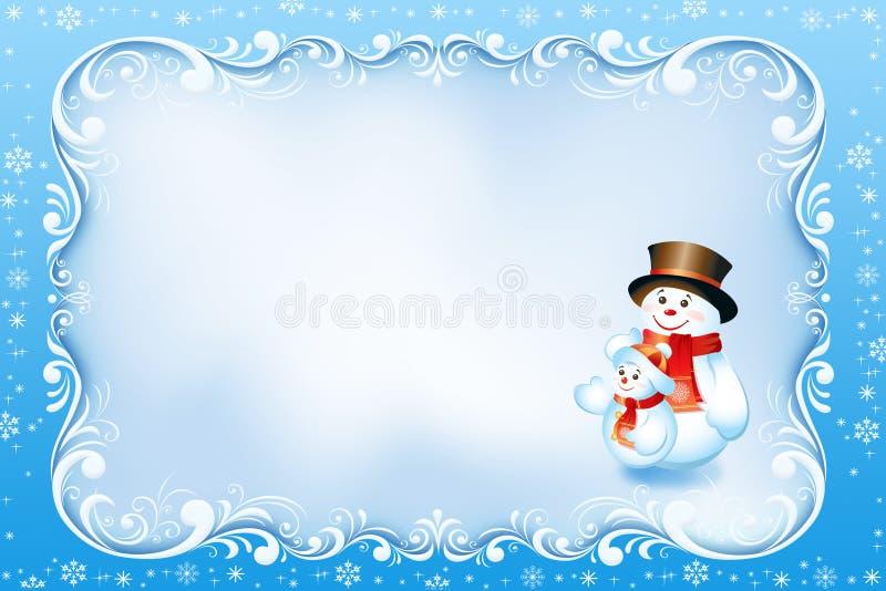 Błękitna kartka bożonarodzeniowa z zawijasa bałwanem i ramą royalty ilustracja