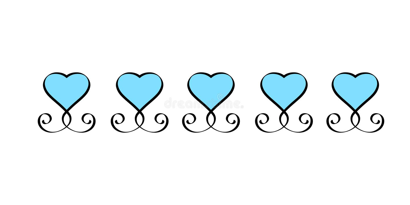 Błękitna Kierowa ręka rysujący miłość znaka set Romantycznych roczników serc kaligrafii wektoru inkasowa ilustracja Concepn ikony royalty ilustracja