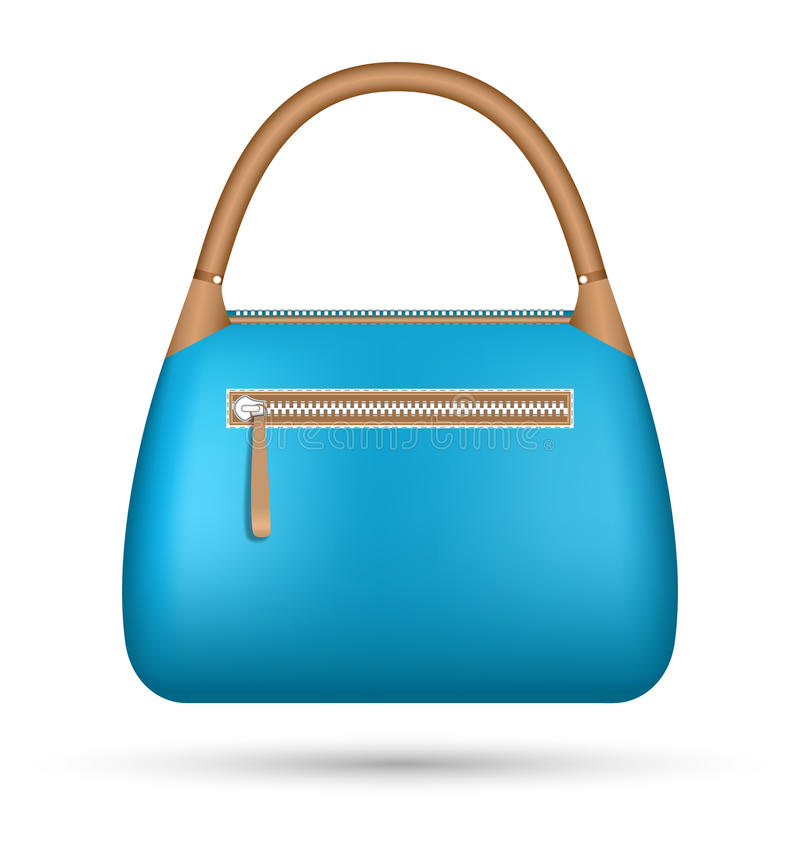 Błękitna kobiety torba odizolowywająca na bielu royalty ilustracja