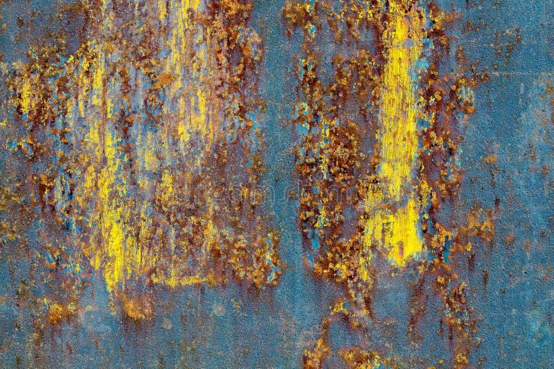 Błękitna kolor żółty rdzy tekstura obrazy stock