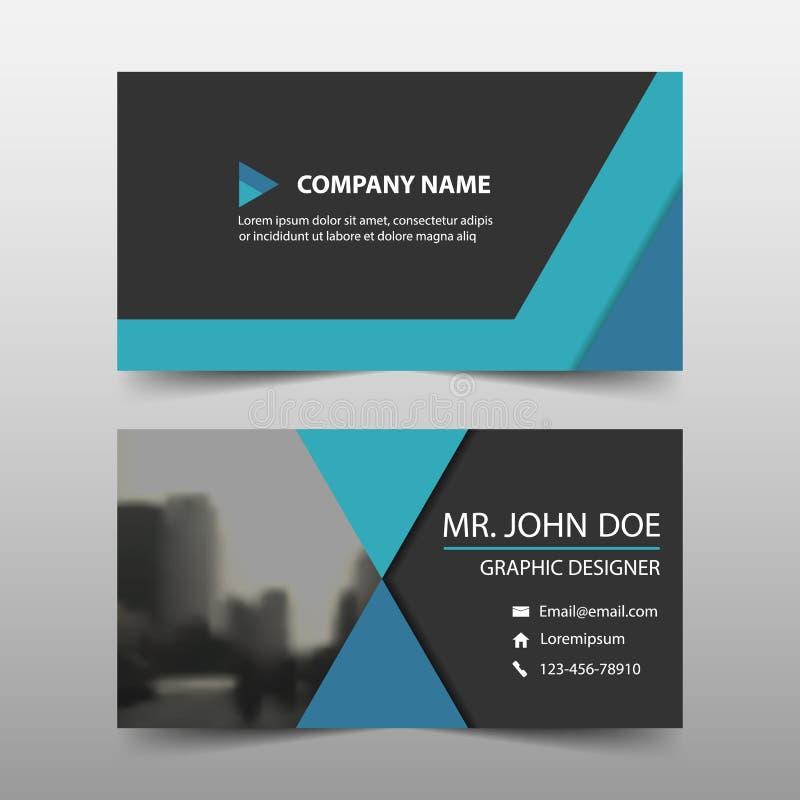 Błękitna korporacyjna wizytówka, imię karty szablon, horyzontalny prosty czysty układu projekta szablon, Biznesowy sztandaru szab ilustracji