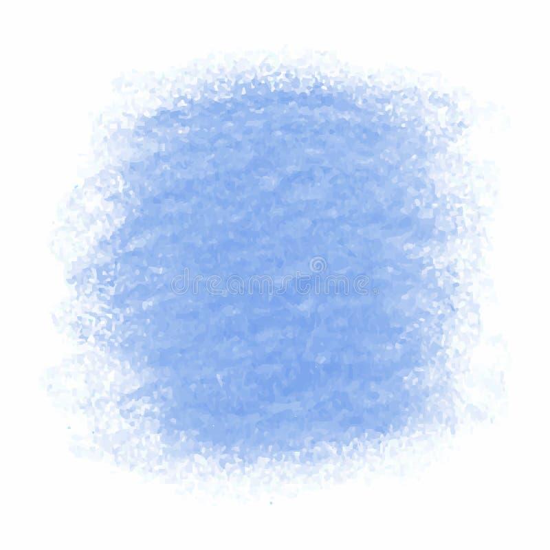 Błękitna kredkowa skrobaniny tekstury plama odizolowywająca na białym tle ilustracja wektor