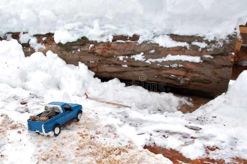 Błękitna kruszcowa zabawkarska furgonetka w tartaku Wtykający przy snowdrift i trociny Niesie jedlinowych rożki z tyłu samochodow obrazy stock