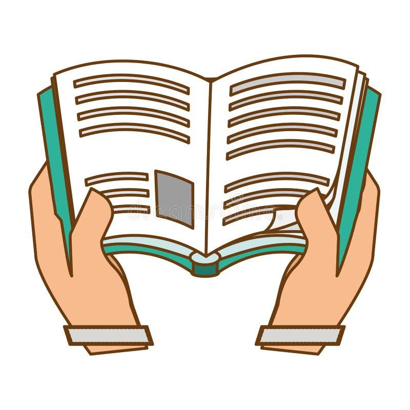 Błękitna książka w kolor skóry rękach royalty ilustracja