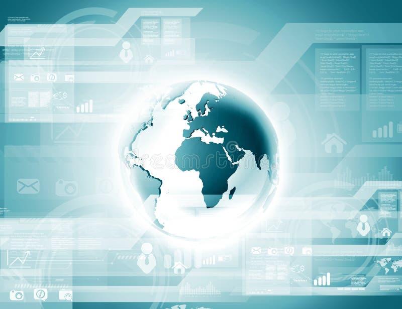 Błękitna kula ziemska na technologii cyfrowej zdjęcie royalty free