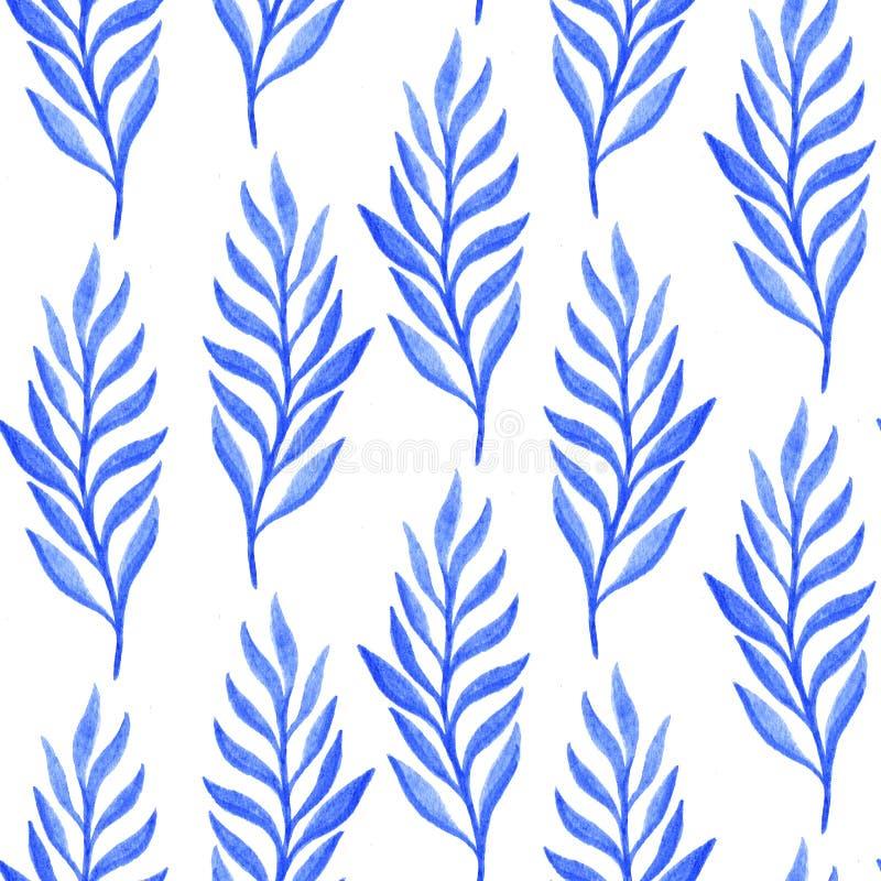 Błękitna kwiecista akwarela bezszwowa royalty ilustracja