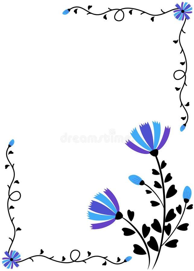 Błękitna kwiecista dekoracyjna karta ilustracji