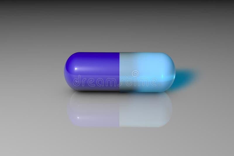 Błękitna lecznicza kapsuły pigułka Apteki apteka Antybiotyczna kapsuła Witaminy i kopaliny kompleks pharmaceutical royalty ilustracja