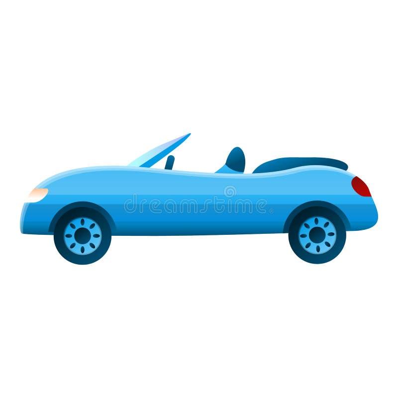 Błękitna mała kabriolet ikona, kreskówka styl royalty ilustracja