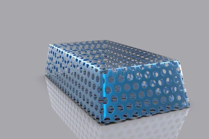 Błękitna metal sztaba 3D royalty ilustracja